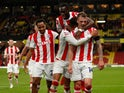 Stoke City's Josh Tymon celebrates scoring their third goal against Watford in the EFL Cup on September 21, 2021