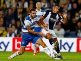 West Bromwich Albion's Jake Livermore in action with Queens Park Rangers' Dominic Ball in the Championship on September 24, 2021