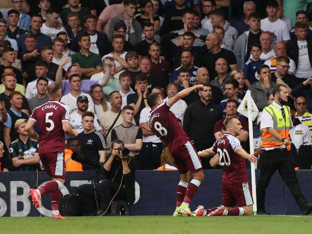 West Ham United's Jarrod Bowen celebrates scoring their first goal against Leeds United in the Premier League on September 25, 2021