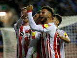 Sunderland's Nathan Broadhead celebrates scoring their first goal against Wigan Athletic in the EFL Cup on September 21, 2021
