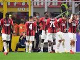 AC Milan's Rafael Leao celebrates scoring their first goal with teammates on September 28, 2021