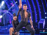 Adam Peaty and Katya Jones on the first Strictly Come Dancing live show on September 25, 2021