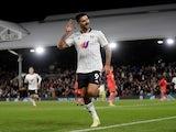 Fulham's Aleksandar Mitrovic celebrates scoring against Swansea City in the Championship on September 29, 2021