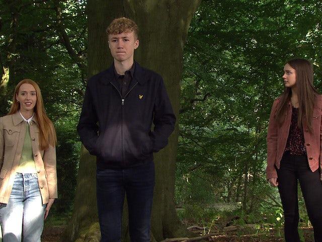 Chloe, Noah and Sarah on Emmerdale on September 28, 2021