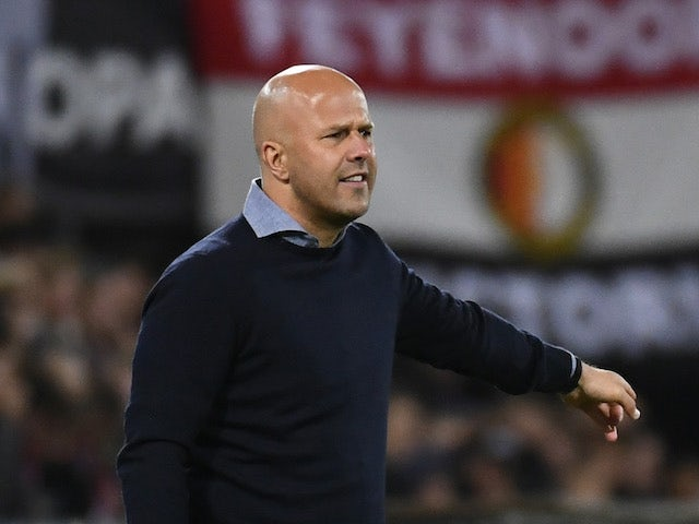 Feyenoord coach Arne Slot coach gives instructions to his players on September 30, 2021