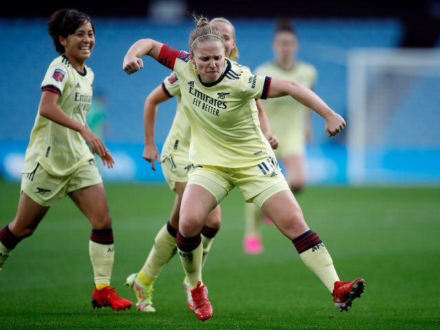 Arsenal's Kim Little celebrates scoring their first goal against Aston Villa in the Women's Super League on October 3, 2021