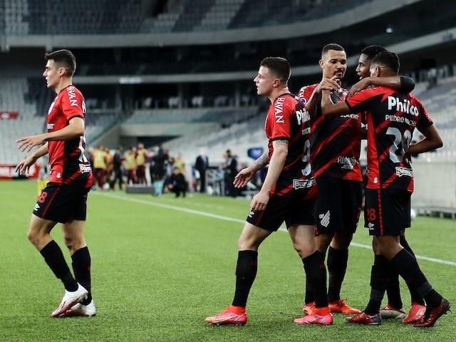 Athletico Paranaense's Pedro Rocha celebrates scoring their second goal with teammates on October 1, 2021