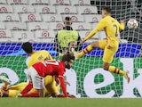 Benfica's Rafa Silva scores against Barcelona in the Champions League on September 29, 2021
