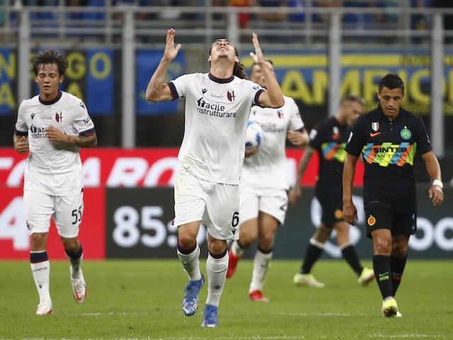 Bologna's Arthur Theate celebrates scoring their first goal on September 18, 2021