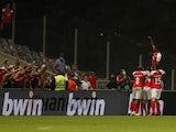Braga's Ricardo Horta celebrates scoring their second goal with teammates on September 30, 2021
