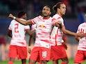 RB Leipzig's Christopher Nkunku celebrates scoring their first goal on September 28, 2021