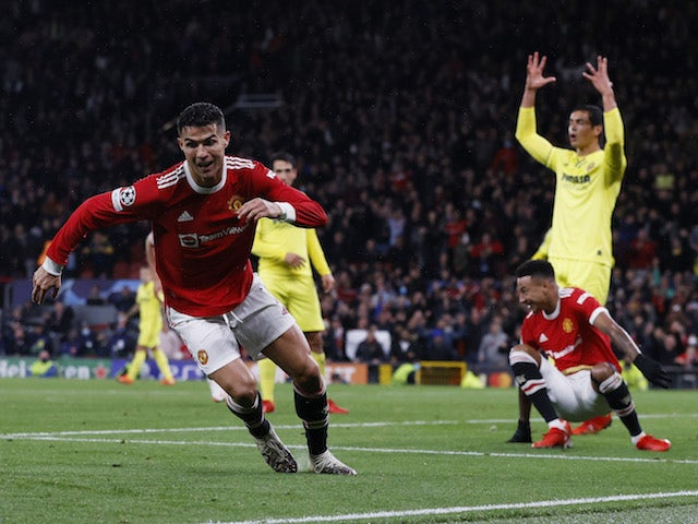 Manchester United's Cristiano Ronaldo celebrates scoring against Villarreal in the Champions League on September 29, 2021