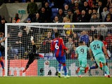 Brighton & Hove Albion's Neal Maupay scores their first goal against Crystal Palace in the Premier League on September 27, 2021