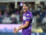 Fiorentina's Dusan Vlahovic reacts on September 21, 2021