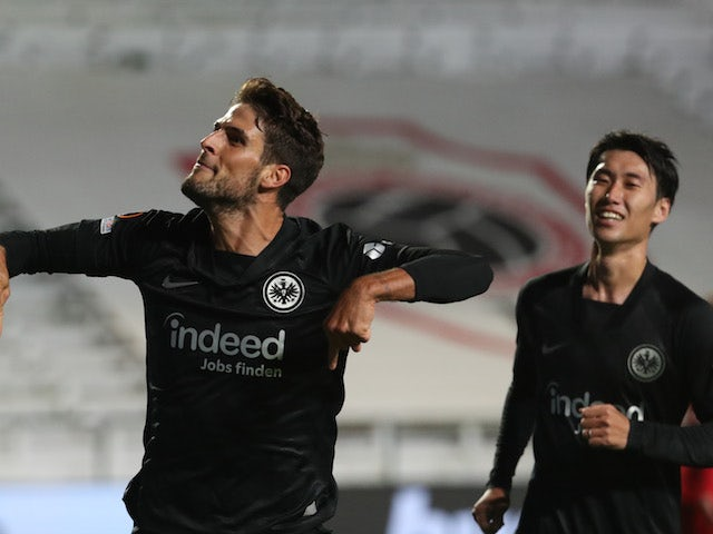 Eintracht Frankfurt's Goncalo Paciencia celebrates scoring their first goal on September 30, 2021