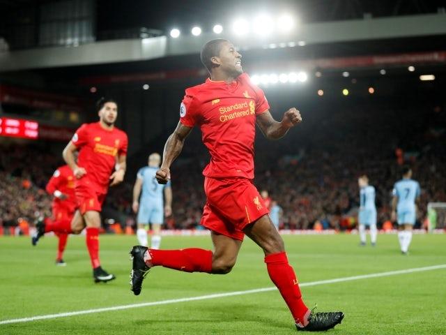 Liverpool's Georginio Wijnaldum celebrates scoring against Manchester City on December 31, 2016