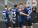 Inter Milan's Lautaro Martinez celebrates scoring their first goal with teammates on September 25, 2021