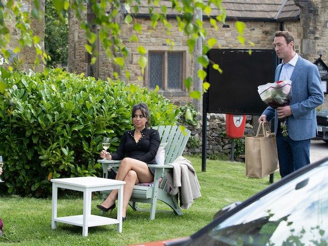 Priya and Liam on Emmerdale on September 28, 2021