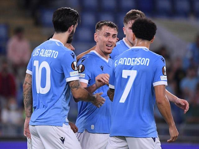 Lazio's Patric celebrates scoring their second goal with teammates on September 30, 2021
