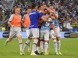 Lazio's Pedro celebrates scoring their second goal with teammates on September 26, 2021