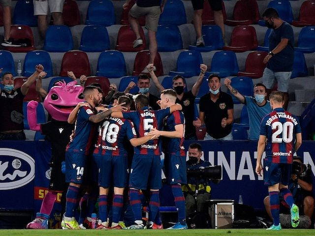 Levante's Marti Roger celebrates scoring their first goal with teammates on August 22, 2021