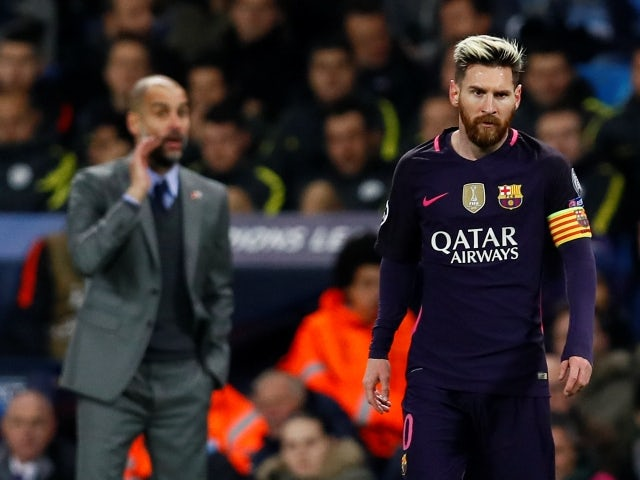 Barcelona's Lionel Messi and Manchester City manager Pep Guardiola pictured on November 1, 2016
