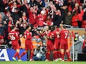 Liverpool's Mohamed Salah celebrates scoring their second goal against Manchester City in the Premier League on October 3, 2021