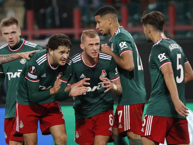 Lokomotiv Moscow players celebrate their first goal scored by Faustino Anjorin on September 16, 2021
