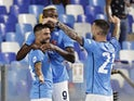 Napoli's Victor Osimhen celebrates scoring their first goal with teammates on September 26, 2021