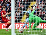 Manchester City's Phil Foden scores their first goal against Liverpool on October 3, 2021