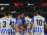 Real Sociedad's Adnan Januzaj celebrates scoring their first goal with teammates on September 16, 2021