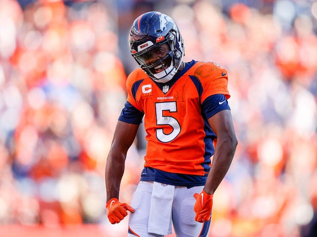 Denver Broncos quarterback Teddy Bridgewater (5) reacts after a play in the fourth quarter against the New York Jets at Empower Field at Mile High on September 26, 2021