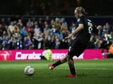 Everton's Tom Davies misses a penalty during the shootout on September 21, 2021