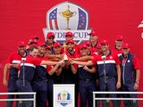 The United States celebrate after beating Europe during day three singles rounds for the 43rd Ryder Cup golf competition at Whistling Straits on September 26, 2021