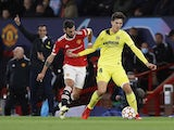 Villarreal's Pau Torres in action with Manchester United's Bruno Fernandes in the Champions League on September 29, 2021