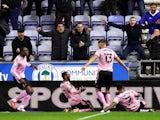 Sheffield Wednesday's Callum Paterson celebrates scoring their second goal on September 28, 2021