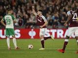 West Ham United's Declan Rice celebrates scoring against Rapid Vienna on September 30, 2021