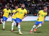 Brazil's Gabriel Barbosa celebrates scoring against Venezuela on October 7, 2021