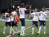 England's Tammy Abraham celebrates scoring their third goal against Andorra in World Cup 2022 Qualifying on October 9, 2021