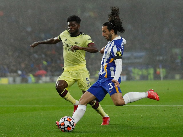 Arsenal's Thomas Partey in action with Brighton & Hove Albion's Marc Cucurella on October 2, 2021