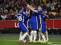 Chelsea's Ben Chilwell celebrates scoring their first goal with teammates on October 16, 2021