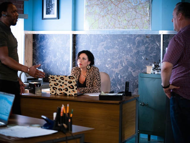 Mitch, Kat and Harvey on EastEnders on October 18, 2021