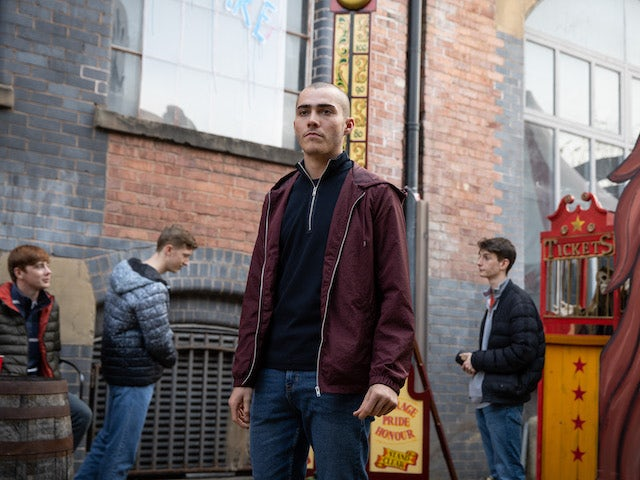 Corey on the first episode of Coronation Street on October 18, 2021