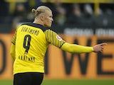Borussia Dortmund's Erling Braut Haaland celebrates scoring their third goal on October 16, 2021