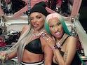 Jesy Nelson and Nicki Minaj in the video for Boyz