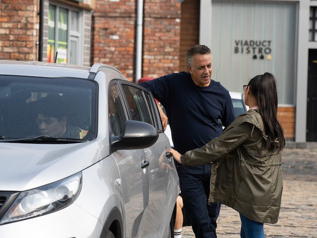 Dev and Asha on the first episode of Coronation Street on October 18, 2021