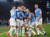 Lazio's Sergej Milinkovic-Savic celebrates scoring their third goal with teammates on October 16, 2021