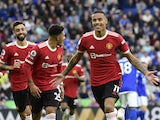 Manchester United's Mason Greenwood celebrates scoring their first goal on October 16, 2021