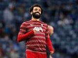 Mohamed Salah warms up for Liverpool in September 2021