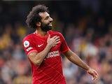 Liverpool's Mohamed Salah celebrates scoring their fourth goal on October 16, 2021